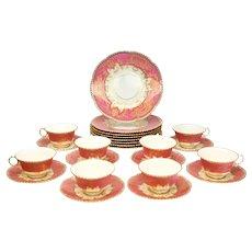 Cauldon England Pink Porcelain Dessert Service for 8, circa 1920 with Gilt Swags