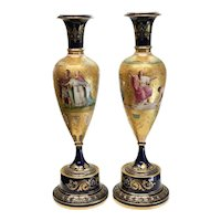 Pair Royal Vienna Hand Painted Porcelain Vases Vestal Virgins, 19th Century