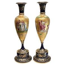 Pair Royal Vienna Hand Painted Porcelain Vases Vestal Virgins, 19th Century