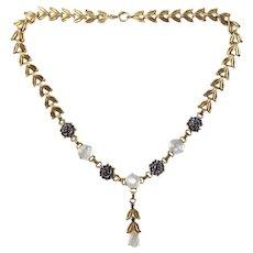 Retro Mid Century Tiffany & Co 14 Karat Yellow Gold Moonstone & Sapphire Necklace Choker