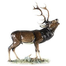 Rosenthal Selb German Porcelain Howling Elk Sculpture by Fritz Heidenreich