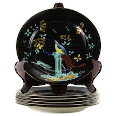6 Royal Worcester Chinoiserie Enamel Peacock Luncheon Plates, circa 1917