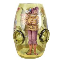 German Bohemian Yellow Art Glass Hand Painted Vase, Cavaliers. 19th Century