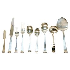 6pc Allan Adler Sterling Silver Flatware Service for 10 in Modern Georgian