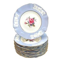 12 Copeland Spode England Porcelain Luncheon Plates, circa 1900. Roses