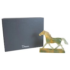 Charming Daum Nancy Art Glass Pate De Verre Horse Sculpture, Signed. Orig. Box