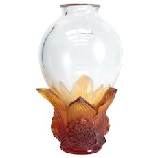 Lovely Lalique France Crystal Clear & Amber Pivoines Peonies Vase, Ltd of 99
