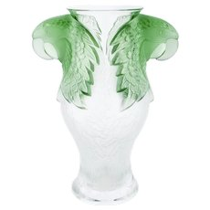 Stunning Lalique France Crystal Frosted & Green Macao Macaw Vase, Ltd of 99