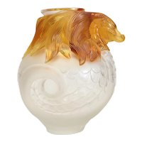 Magnificent Lalique Frosted Crystal & Amber Vase Imperial Dragon, Ltd Ed. of 99