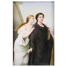 Continental Hand Painted Porcelain Plaque of Antigone & Simone, 19th Century