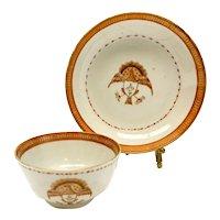 Chinese Export Porcelain Cup & Saucer, Armorial Crest Birds, circa 1870