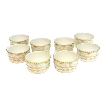 8 KPM Germany Porcelain Ramekin Dishes, circa 1900. Raised Gilt Ribbons