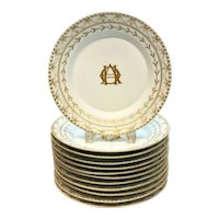 12 KPM Porcelain Masonic Dinner Plates, circa 1900 Raised Gilt Floral