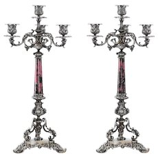 Pair of Italian Silver and Rhodochrosite Candelabra by Ganci Carmelo, Milan