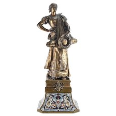 19th Century Bronze Sculpture of a Lady with Champleve Enamel Base