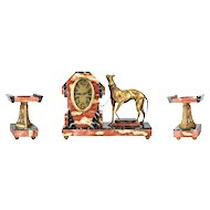 Art Deco Marble and French Bronze Clock Garniture with Greyhound, circa 1920
