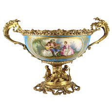 19th Century Sevres Style Porcelain and Gilt Bronze Centerpiece