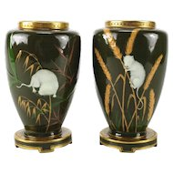 Pair of Minton Porcelain Pate-Sur-Pate Japonism Vases, circa 1880