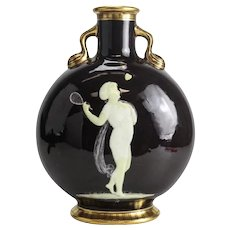 Moore Bros Pate Sur Pate Porcelain Moon Flask Henry, 19th Century. Tennis Player