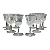 10 Stunning Continental Cut Glass Acid Etched Cordial Wine Glasses Edinburgh