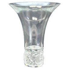 Lalique France Crystal Glass Jazzy Vase, Tulip- Shaped Rim. With Box