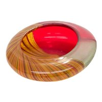 Murano Afro Celotto Red, Clear, and Orange Striped Art Glass Bowl Vase, 2002