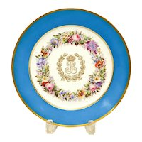 Manufacture De Sevres Style King Louis Philippe Porcelain Plate Chateau De Dreux 1847