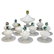10 Venetian Art Glass Latticino Stripe Lidded Compotes & Saucers, circa 1940