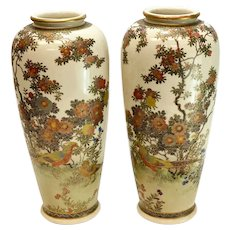 Pair Japanese Hand Painted Satsuma Porcelain Vases, Birds & Flowers