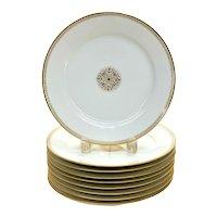10 Manufacture De Sevres France Porcelain 9.5 inch Plates, Gilt Emblems, 1865