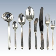 52 Piece Evald Nielsen Danish Silver 5pc Flatware Service for 8, Pattern 29, circa 1930