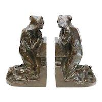 Pair Louis McClellan Potter (American) Bronze Bookends, Praying Monks, 1911
