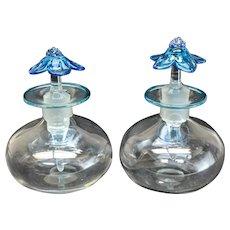 Pair Steuben Art Glass Cologne Bottle Celeste Blue Cintra Lip Wrap Flower Top