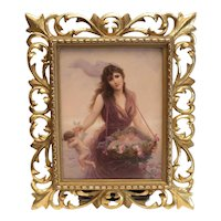 Very Fine KPM Porcelain Plaque Beauty Collecting Cherubs, c1890. signed Walther