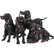 Austrian Bronze Hunting Dogs Figurine, circa 1910, Gilt Collared Accents