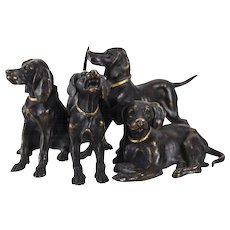 Austrian Bronze Hunting Dogs Figurine, circa 1910, Gilt Collared Accents