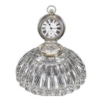 John Grinsell Sons Birmingham Sterling Silver Cut Glass Inkwell Desk Clock,1903