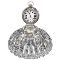John Grinsell Sons Birmingham Sterling Silver Cut Glass Inkwell Desk Clock,1903