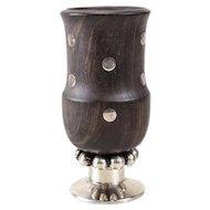 William Spratling Modernist Sterling & Inlaid Wood Cup or Cigarette Holder 1930