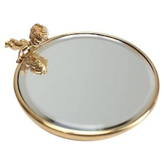 Lovely Ruser 14k Yellow Gold Figural Cherub Compact Mirror, 20.4 grams