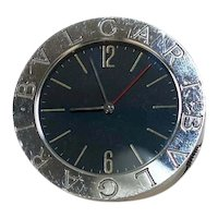 Small Bulgari Round Travel Clock with Back Stand