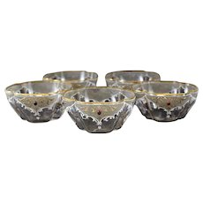 5 Continental Enamel and Jeweled Art Glass Bowls. Moser Style. circa 1930