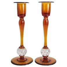 Pair Amber Art Glass Candlesticks, Controlled Bubbles, circa 1950