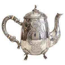 German 800 Silver Chocolate Pot, 19th Century. Hand Chased Foliate Scrolls