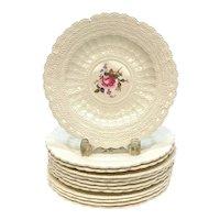 12 Copeland Spode Jewel Porcelain Embossed Dessert Plates in Claudia circa 1940