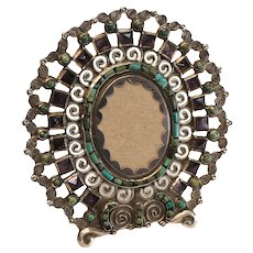 Matld Matilde Eugenia Poulat Salas Sterling Silver Amethyst Turquoise Oval Frame