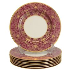 8 Lenox Porcelain Maroon & Gilt Encrusted Dinner Plates, circa 1910