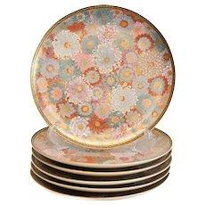 6 Japanese Satsuma Hand Painted Porcelain Dinner Plates, Senzan circa 1910