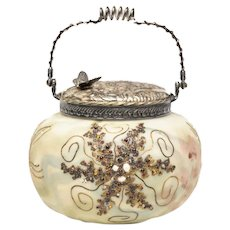 Mount Washington Crown Milano Art Glass & Silver Plate Biscuit Jar, circa 1890