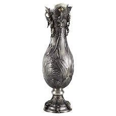 Continental 900 Silver Niello Hand Hammered Footed Vase, Art Nouveau MS Hallmark